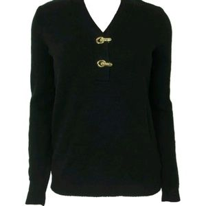 Charter Club womens V Neck Henly Pullover Black L